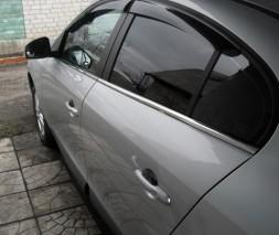 Нижняя окантовка стекол (4 шт, нерж) Renault Fluence 2009