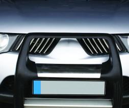 Накладки на решетку радиатора (14 шт, нерж) Mitsubishi L200 2006-2015