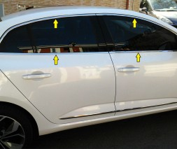 Renault Megane IV 2016 Окантовка на молдинги стекол OmsaLine (12 шт, нерж.) SD