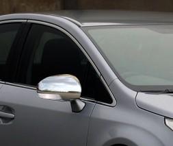 Накладки на зеркала (2 шт, нерж) Toyota Avensis 2009