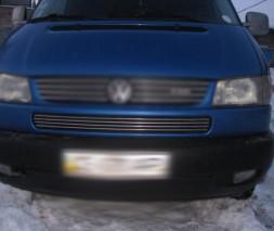 Накладки на решетку в бампер Косой капот (4 шт, нерж) Volkswagen T4 Transporter